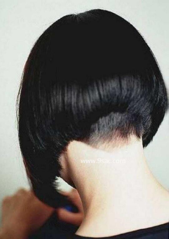 Yığılmış Bob Vurgulu Ense Saç Modeli