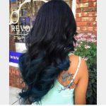 Mavi Uçlu Siyah Ombre Saç Rengi