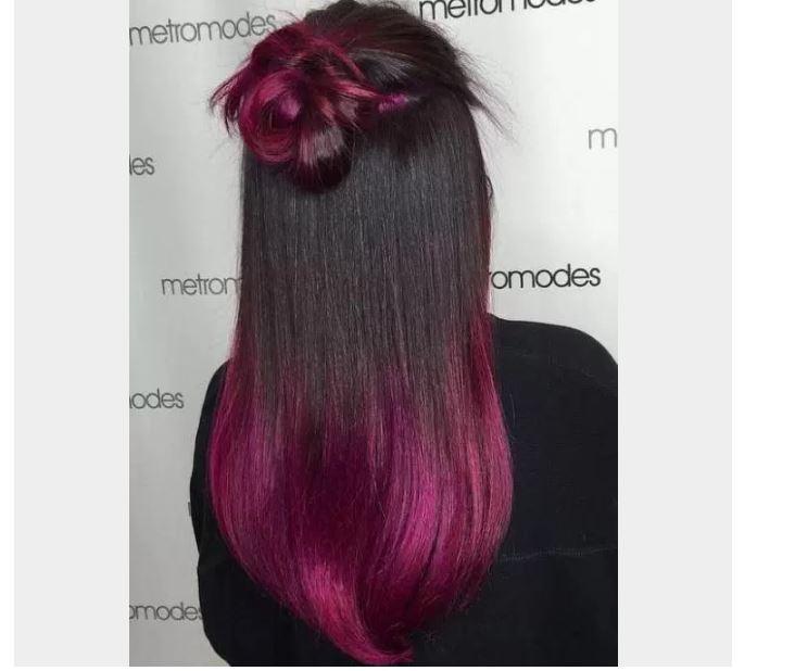 Pırıl Pırıl Fuchsia Siyah Saç Ombre Renkleri