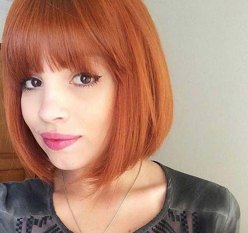 Ateş Kırmızısı Saç Rengi Kısa Bob Saç Modeli