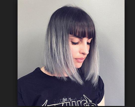 Tepesi Koyu Uçları Açık Gri Ombre Saç Renkleri Saç