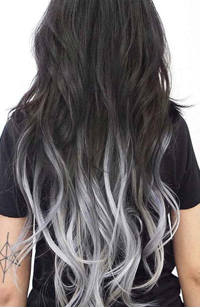 ombre beyaz gölgeli saç modelleri