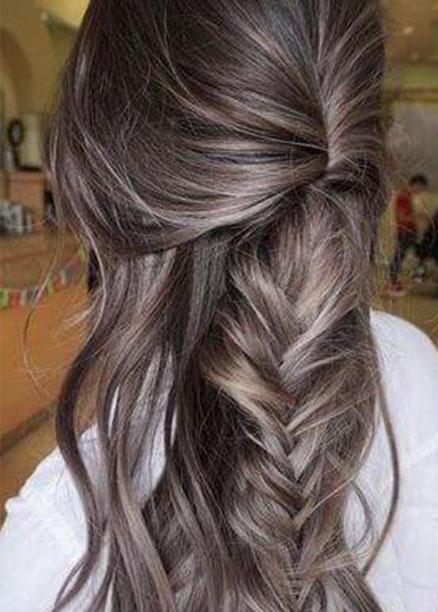 örgü gri ombre saç modelleri
