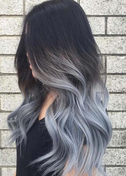 dalgalı gri ombre saç modelleri