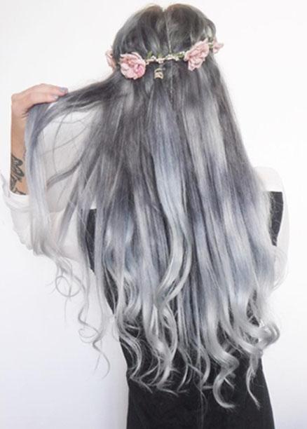 en güzel gri ombre saç modelleri