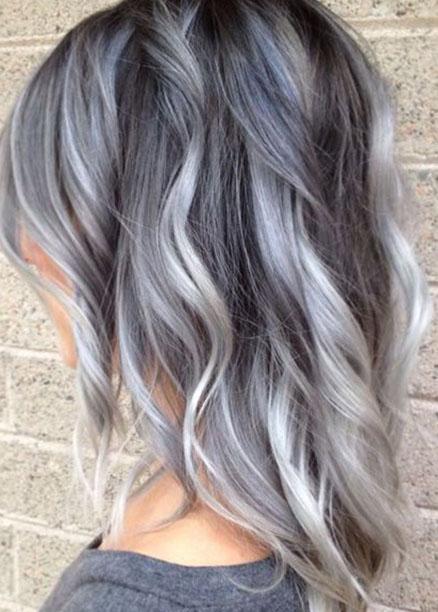 kısa gri ombre saç modelleri