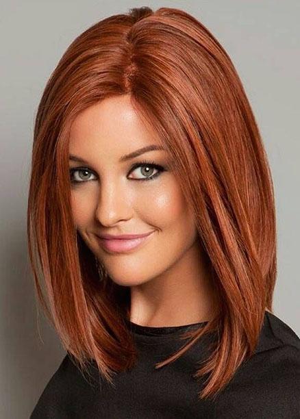 omuz hizası kızıl saç modelleri