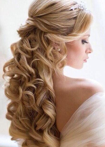 sarı uzun düğün saç modelleri