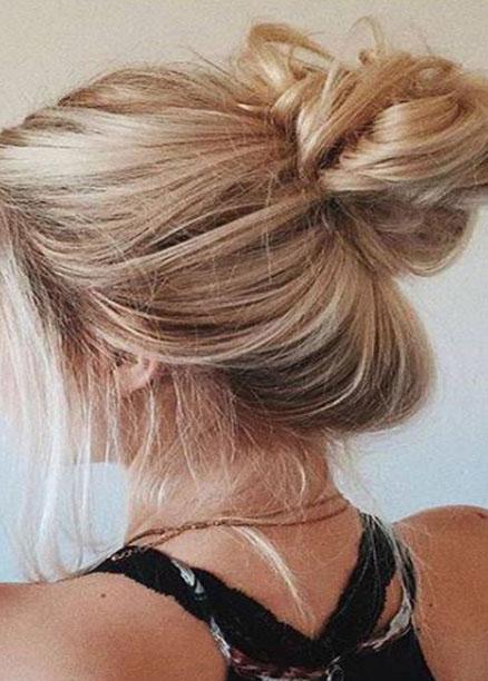 en güzel dağınık topuz saç modelleri
